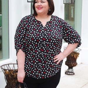 Heart Print Blouse from Catherines